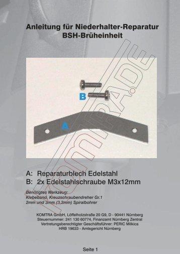 Anleitung für Niederhalter-Reparatur BSH ... - KOMTRA GmbH