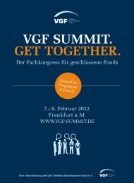 VGF SUMMIT. GET TOGETHER. - VGF SUMMIT Geschlossene Fonds