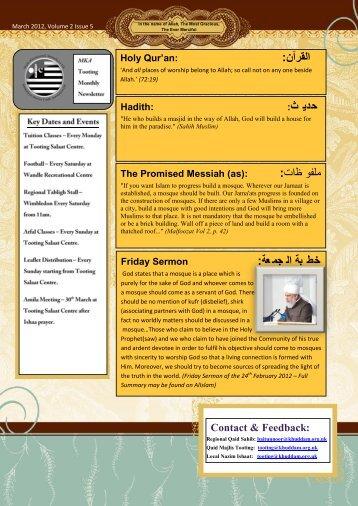 اﻟﻘرآن: ﺣدﯾ ث: : ﻇ ﻣﻠﻔﻮ ات ﺧط ﺑﺔ اﻟ ﺟﻣﻌﺔ: - Majlis Khuddamul Ahmadiyya UK ...