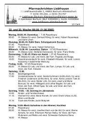 Pfarrnachrichten Liebfrauen 32. und 33. Woche (08.08.-21.08.2005)