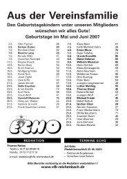 Geburtstage im Mai und Juni 2007 - VfB Reichenbach/Fils