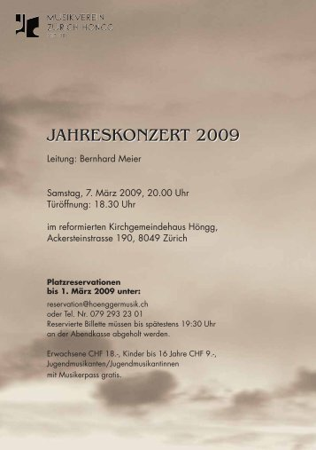 JAHRESKONZERT 2009 - Musikverein Zürich-Höngg