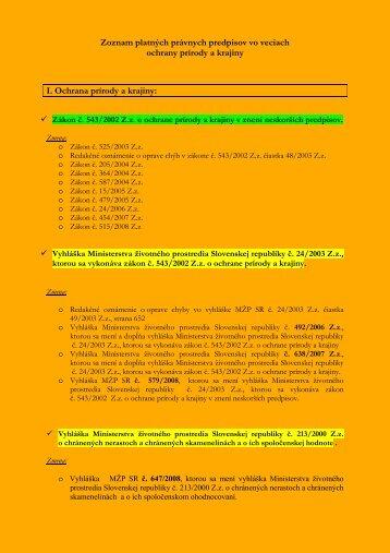 Zoznam platných právnych predpisov na ochranu