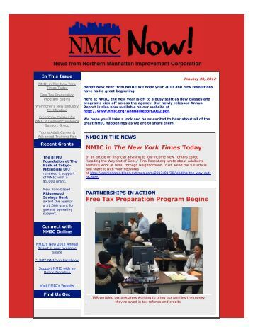"Our January Email Newsletter ""NMIC Now!"" Is Available"