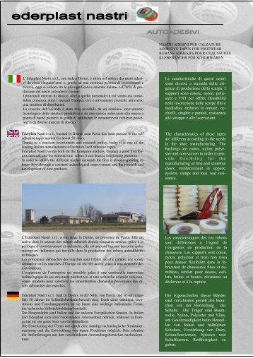 Scarica la descrizione dei nostri prodotti in pdf - Ederplast Nastri