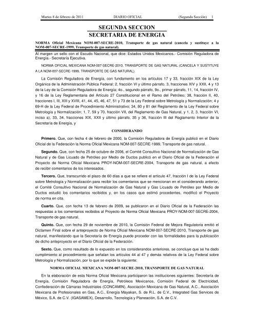 nom-007-secre-2010 - Secretaría de Energía