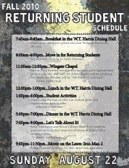 returning students outlines - Wingate University