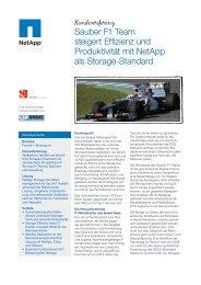 Sauber F1 Team steigert Effizienz und Produktivität mit NetApp als ...
