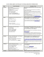 state child abuse and neglect central registry information - Virginia ...