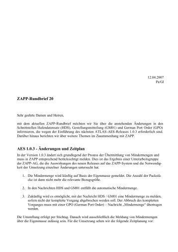 ZAPP-Rundbrief 20 - DAKOSY Datenkommunikationssystem AG
