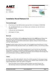 Installation Novell Netware 6.0 - A-Net GmbH
