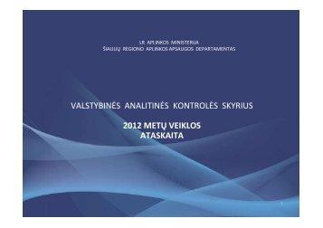 Valstybinės analitinės kontrolės skyriaus 2012 m. veiklos ataskaita