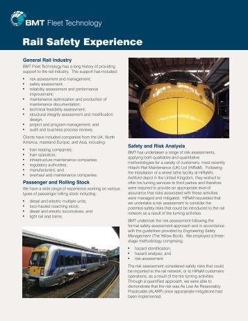 BMT Rail Safety Experience le... - BMT Group
