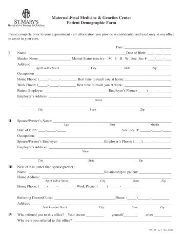 The Weight Shop PATIENT DEMOGRAPHIC FORM