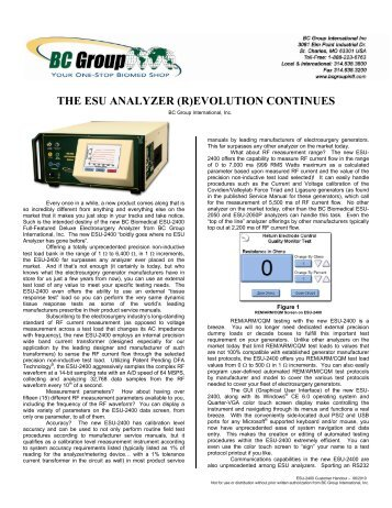 the esu analyzer (r)evolution continues - BC Group International Inc.