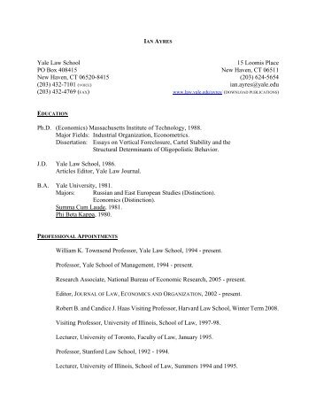 Ayres Resume - Yale Law School Internal Organizations Website ...