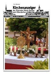 Kirchenanzeiger 18. Mai - 9. Juni 2013 - Pfarrverband Dorfen