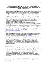 OPLEIDINGSPLAATS TOT GZ - PSYCHOLOOG - RINO Groep