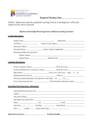 2010 Learning Contract for Internships and Work Experience
