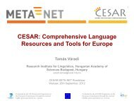 comprehensive language resources and tools for ... - CESAR project