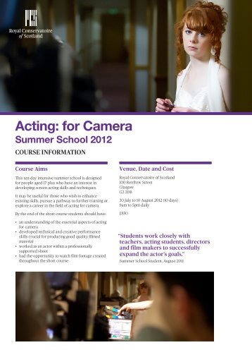 Acting: for Camera - Royal Conservatoire of Scotland