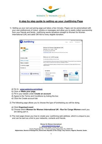 A step by step guide to setting up your JustGiving Page - Women for ...