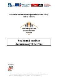 Souhrnná analýza dotazníkových šetření - Tábor