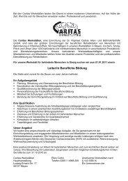 Stellenausschreibung BBSV Sinzig - Caritas Werkstätten