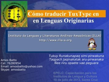 Cómo traducir TuxType en en Lenguas Originarias Tukuy ... - ILLA