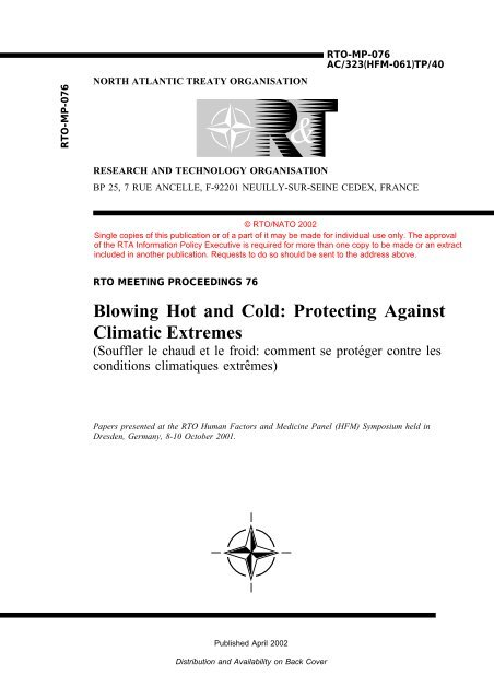 Blowing Hot and Cold: Protecting Against Climatic Extremes (RTO ...