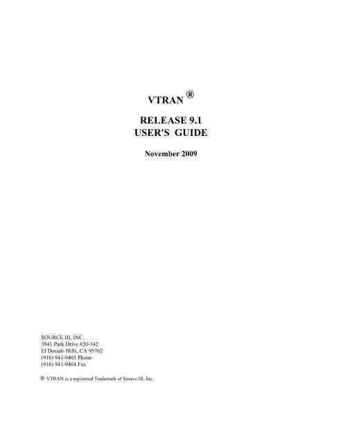 VTRAN RELEASE 9 1 USER'S GUIDE - Source III