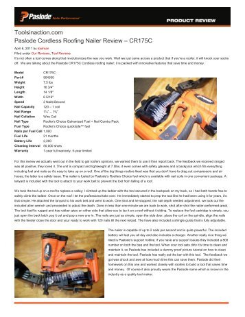 Toolsinaction.com Paslode Cordless Roofing Nailer Review CR175C