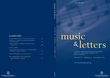 contents - Music and Letters - Oxford Journals