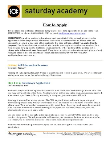 How To Apply - Saturday Academy