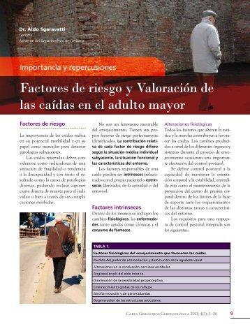 Factores de riesgo y Valoración de las caídas en el adulto mayor