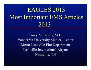 Slovis - Most Important EMS Articles 2013.pptx - Gathering of Eagles