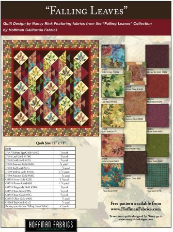 Falling Leaves quilt pattern - Hoffman California Fabrics