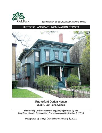 historic landmark nomination report - the Village of Oak Park