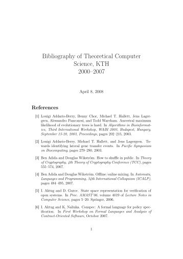 Bibliography of Theoretical Computer Science, KTH 2000–2007