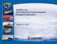 MODEC, Inc. 2012 Half-Year Financial Results Analysts Presentation