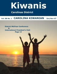 Vol. 88 No. 1 CAROLINA KIWANIAN Oct/Nov 07 - Carolinas District ...