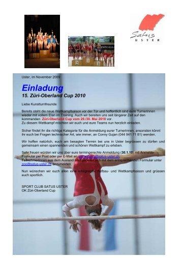 Einladung 15. Züri-Oberland Cup 2010 - Satus Uster