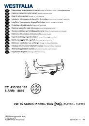 321 453 300 107 SIARR: 8819 VW T5 Kasten/ Kombi / Bus (PDC ...