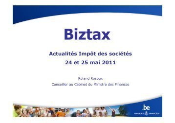 Biztax 24 et 25 mai 2011 - Forum For The Future