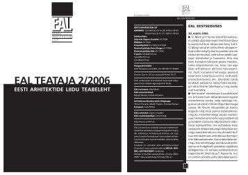 eal teataja 2006 2 web.p65 - Eesti Arhitektide Liit