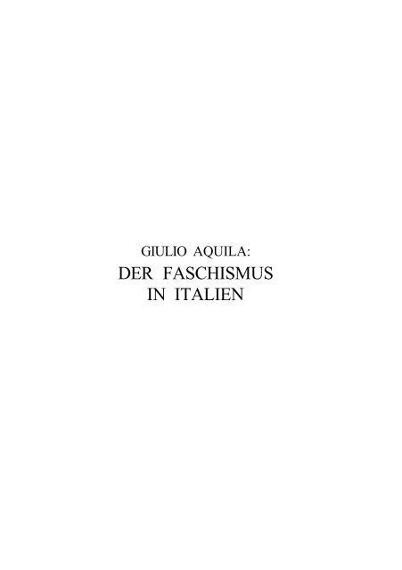 Der Faschismus in Italien (TEXT) - Trend
