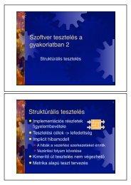Szoftver tesztelés a gyakorlatban 2 Struktúrális tesztelés