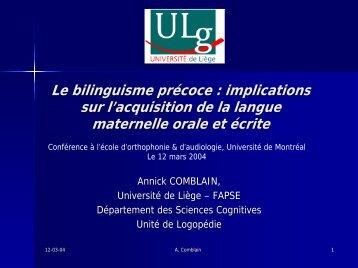 Le bilinguisme précoce : implications sur l'acquisition de la langue ...