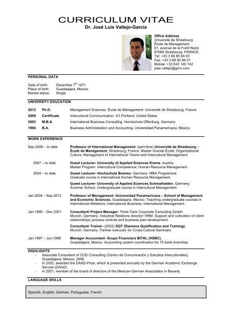 Curriculum Vitae Jose Luis Vallejo