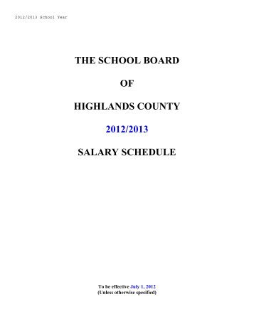 20122013 Salary Schedule The School Board Of Highlands County